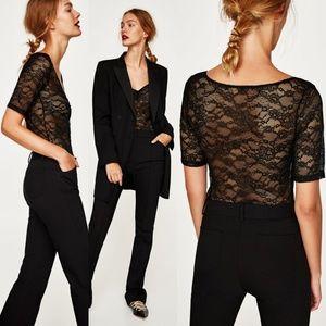 NWT {Zara} Black V-neck Lace Sheer Bodysuit